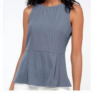 🆕 Lulu's Slate Blue Striped Peplum Top